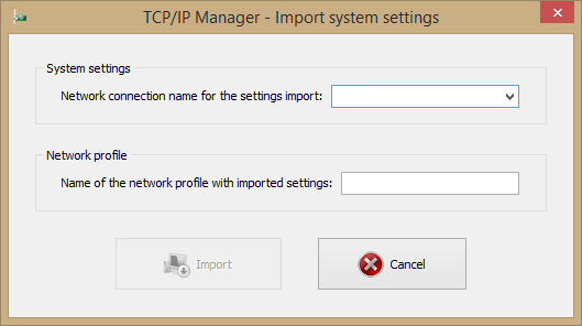 Import system settings window